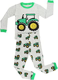 Elowel Boys Tractor 2 pc Kids Childrens Pajama Set 100% Cotton (2Y-8Y)