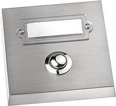 HUBER Opbouw belknop 1-voudig van echt metaal - deurbelknop met naamplaatje - huisdeurbel opbouw - belschakelaar, bel