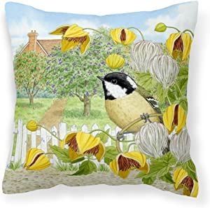 "Caroline's Treasures ASAD0702PW1818 Coal Tits Yellow Flowers Canvas Decorative Pillow, 18"" x 18"", Multicolor"