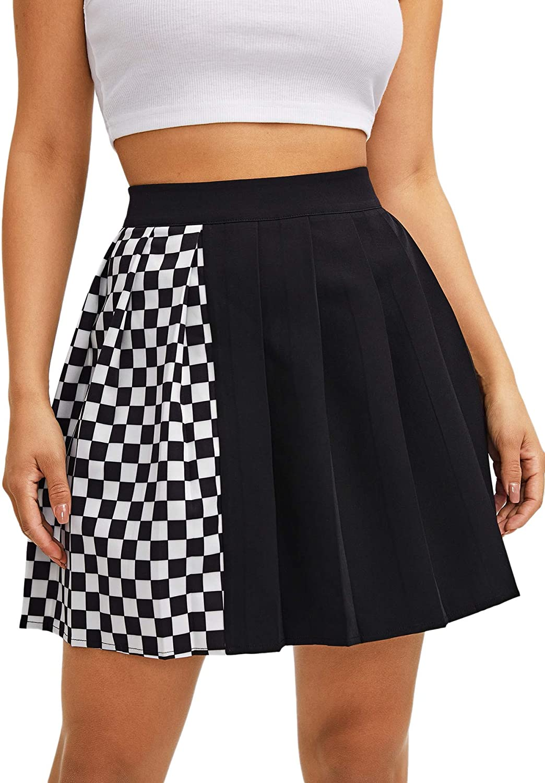 WDIRARA Women's Plaid Pleated Colorblock Casual High Waist Skater Mini Skirt