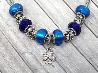 Collana da donna con charms blu in acciaio inossidabile con pendente a trifoglio con cristalli