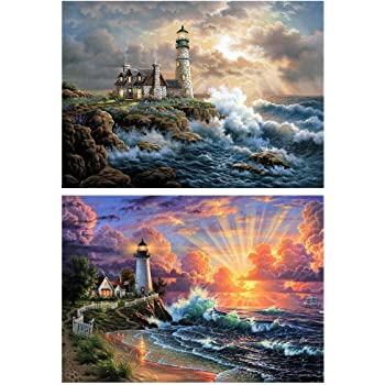 by Numbers Embroidery Cross Stitch for Home Wall Decor 5D Diamond Painting,Frameless Rhinestone Painting Drill Cross-Stitch Colorful Lighthouse