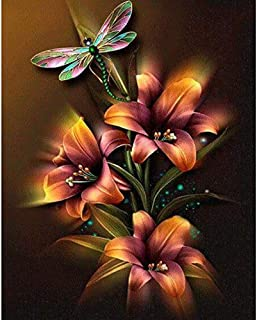 HOT Sale! DIY 5D Diamond Painting Kit, Dragonfly Flower 5d Diamond Painting Kits for Adults Kids Full Drill Diamond for Home Wall Decor Brahmerth (Dragonfly Flower, 30x25cm)