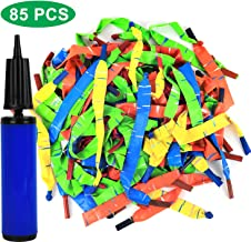 Click N' Play Rocket Balloons with Balloon Hand Pump Set of 85 Fun Long Whistle Balloons Included, Multicolor