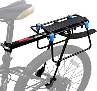ICOCOPRO Bicycle Touring Carrier with Fender Broad,Frame-Mounted for Heavier Top & Side Loads Bike Cargo Rack Quick Release Height Adjustable Cycling Equipment - Black