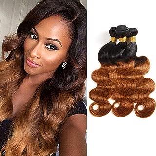 Ombre Body Wave Hair 3 Bundles 100% Human Hair Two-tone #1B30 Brown Hair Extensions Brazilian Virgin Hair 8A Grade (18