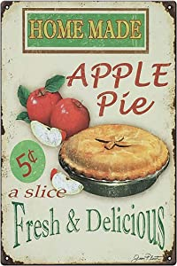 Vintage Kitchen Sign, Home Made Apple Pie Rustic Metal Tin Sign Retro Decor - Decorative Metal Poster Tin Signs Gift 200mm x 300mm