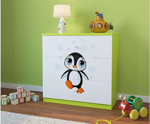 sin mínimo CARELLIA CARELLIA CARELLIA Cómoda para Niño Pinguin con 3 cajones, Color verde limón  liquidación hasta el 70%