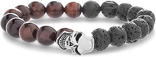 Steve Madden Stainless Steel Tiger Eye Lava Beads Skull Bracelet for Men