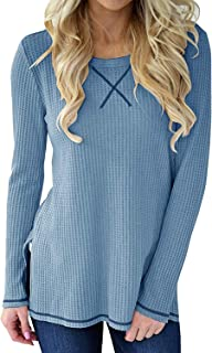 Hount Womens Casual Long Sleeve Waffle Shirts Cute Knit Loose Pullover Tops