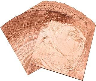 VGSEBA Imitation Gold Leaf Gilding 100pcs Rose Gold Leaf Sheets for Gilding Furniture, Painting Arts, Crafts Nails and DIY...