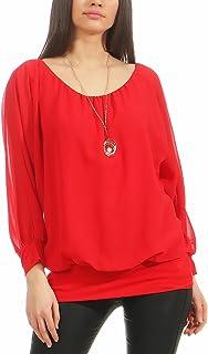 Malito Donna Camicetta Short Look Pipistrello T-Shrit Tunica Elegante Uni Color 6298