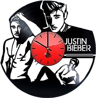 Justin Bieber hecho a mano reloj de pared de disco de vinilo divertido regalo Vintage Unique Home D...