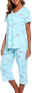 ENJOYNIGHT Women's Sleepwear Tops with Capri Pants Pajama Sets