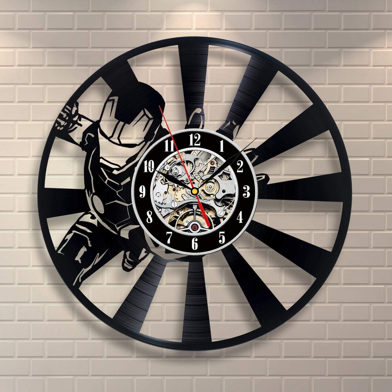 大人気 Wood Crafty Shop Iron Man Marvel 内祝い Comics Clock Record Wall Vinyl