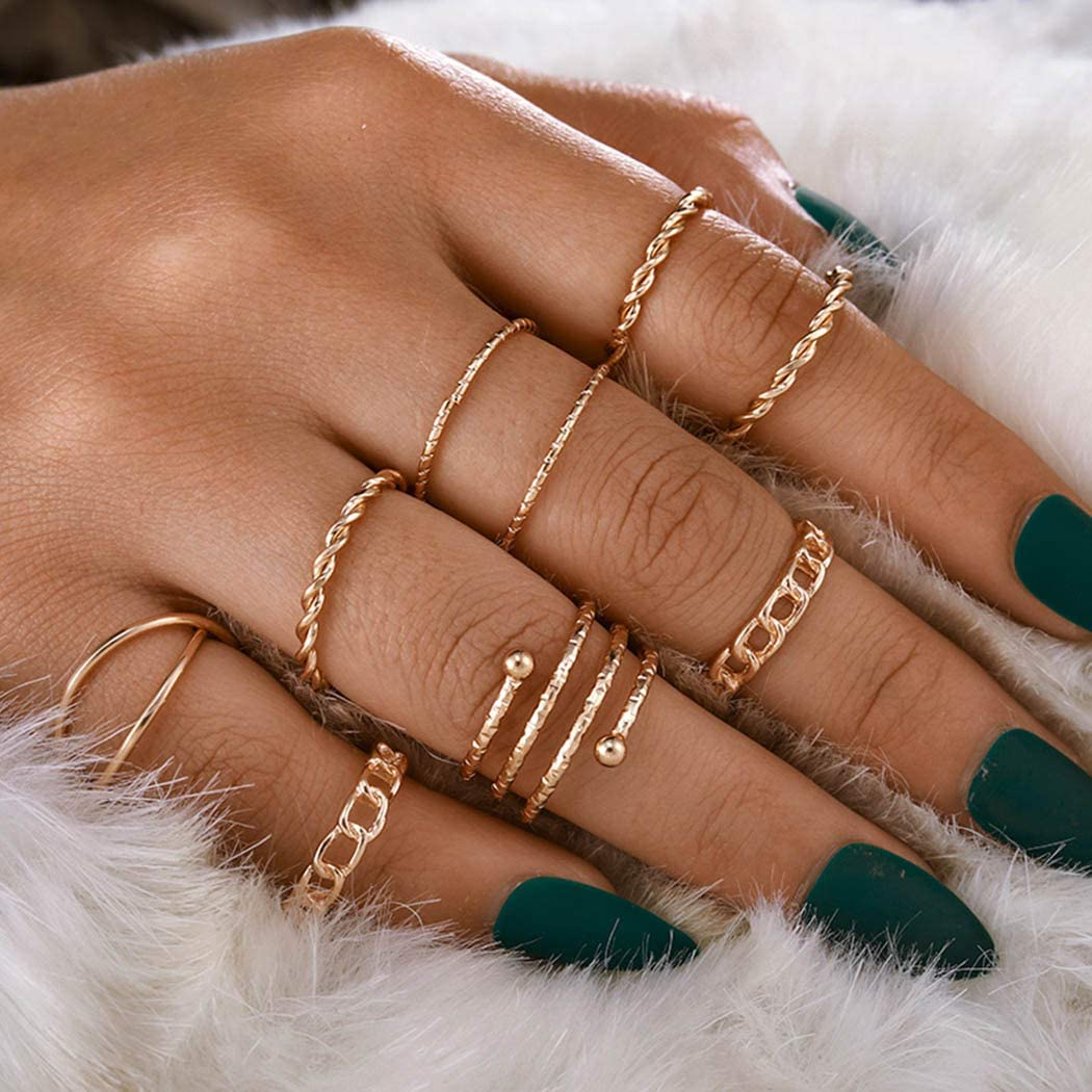 Twinklede Boho Finger Ring Set Joint Attention brand Gold Carved Overseas parallel import regular item Knuckle Hollow