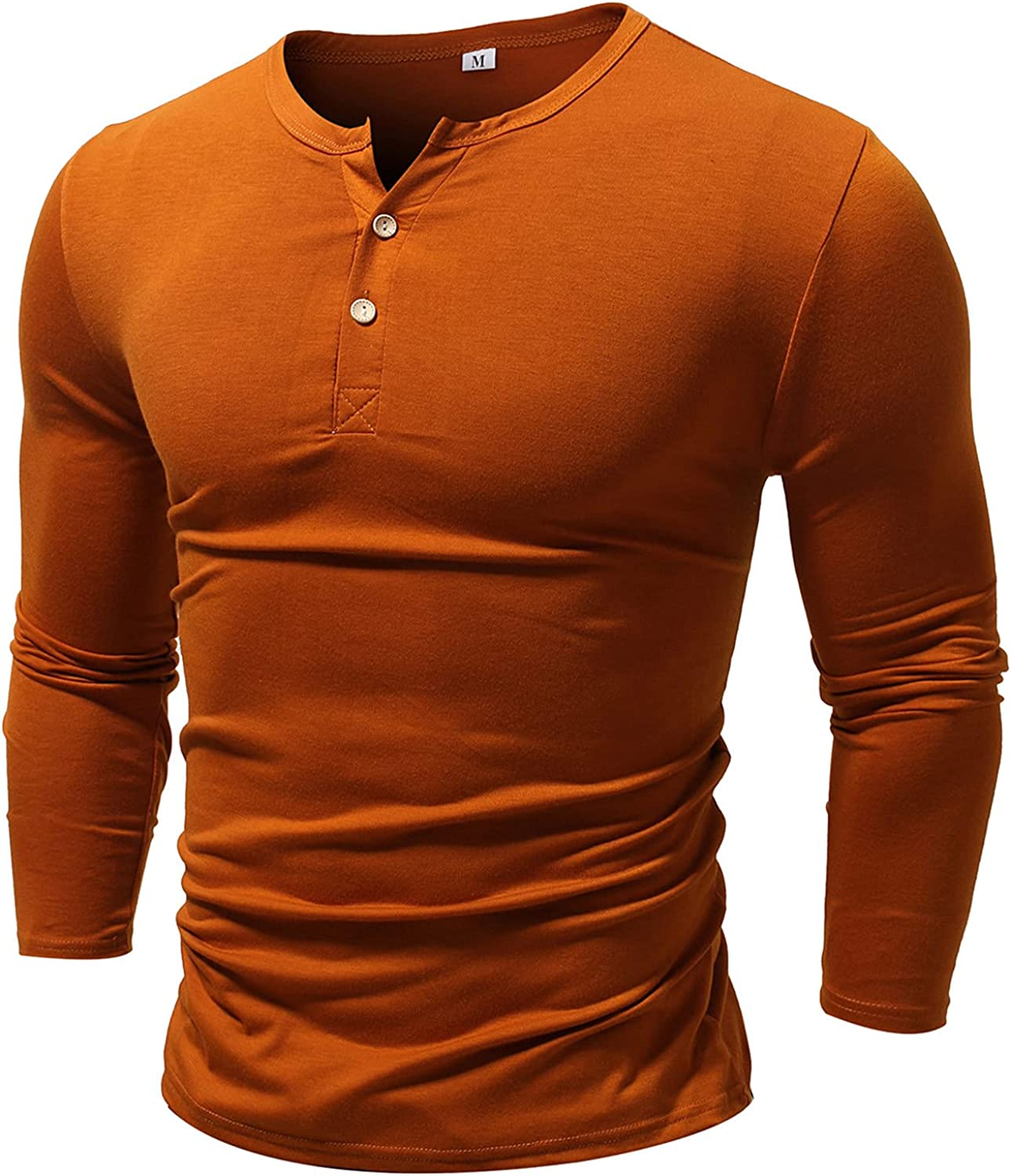 FUNEY Mens Casual Slim Fit Basic Henley Long Sleeve Fashion T-Shirt Cotton Muscle Lightweight Button Basic Solid Color Top
