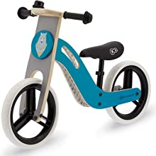 kk Kinderkraft Bici senza Pedali UNIQ, Bicicletta in Legno, Sella Regolabile, Ruote Resistenti, 2 Anni - 35 kg, Turquese