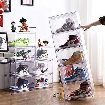 WDDLD Caja De Zapatos,Zapatero Vitrina Transparente De 360 °, Puerta Corredera MagnéTica Apilable para Ahorrar Espacio para Entusiastas del Almacenamiento De Calzado: Amazon.es: Hogar