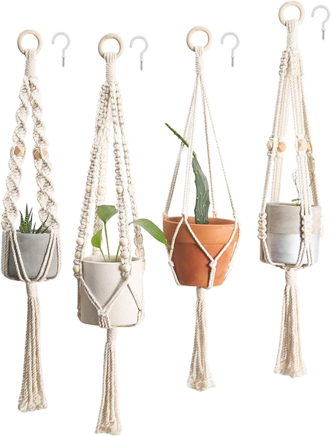 4 Dealing full price reduction Pack Macrame Plant Hangers Crochet with Ha Hooks Factory outlet