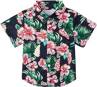 Boys Button Down Shirts 3D Graphic Hawaiian Aloha Short Sleeve Dress Shirt Tops 2-8 Years