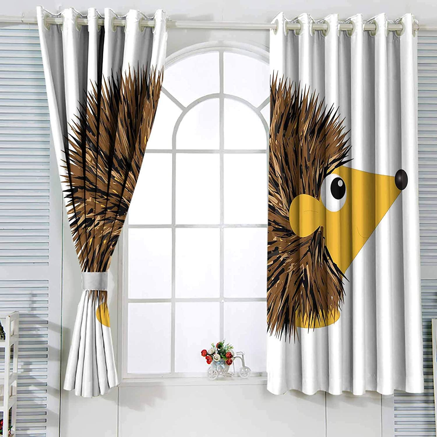 Hedgehog Thermal Under blast sales Insulated Milwaukee Mall Curtains Cartoon with Happy Animal a