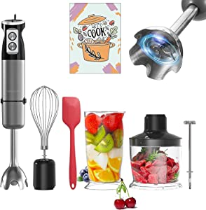 FUMONCHY Immersion Blender, Multifunctional 800 Watt 6-Speed 304 Stainless Steel Stick Hand Blender for Baby Food Sauces Soup with Food Grinder, Container, Milk Frother, Egg Whisk, Silicone Spatula, BPA Free, Black