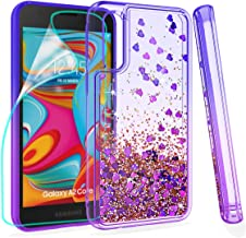 ZingCon Compatible for Samsung Galaxy A2 Core Phone Case,Glitter Quicksand Case with HD Screen Protector,Shockproof Hybrid Hard PC Soft TPU Bling Adorable Shine Protective Cover-Blue/Purple