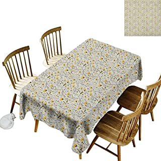 kangkaishi Anti-Wrinkle and Anti-Wrinkle Polyester Long Tablecloth for Weddings/banquets Yellow Flowers with Acorns and Foliage Pattern Ecology Themed Spring W60 x L84 Inch Yellow Sea Green Black
