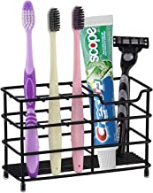 Onyx Premium Toothbrush Holder- Bathroom Accessories- Stainless Steel Rust Proof Build with Multi-Functional 6 Slot Design