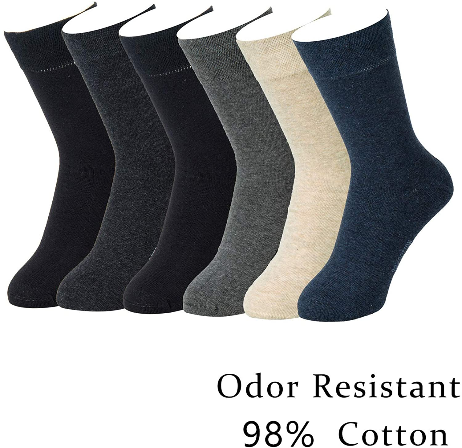 7DayOtter 98% Cotton Rich Dress Socks for Business Mens Womens Casual Socks 6Pack