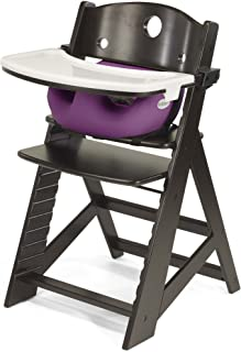 Height Right High Chair with Infant Insert & Tray, Espresso/Rasberry