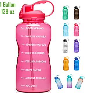 Giotto Large 1 Gallon/128oz (When Full) Motivational Water Bottle with Time Marker &..