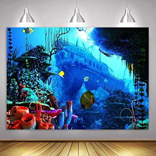 MME 10x7ft Underwater World Background Shipwreck Treasure Adventure Theme Party Photo Booth Studio Props LSME727