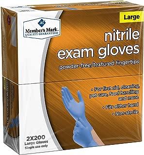 Member's Mark Nitrile Exam Glove Large Gloves 2 X 200 Net Wt (400Count)