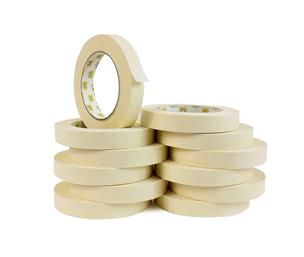 WOD GPM-63 Masking Tape 1/2 inch for General Purpose/Painting - Case of 72 Rolls - 60 Yards per roll