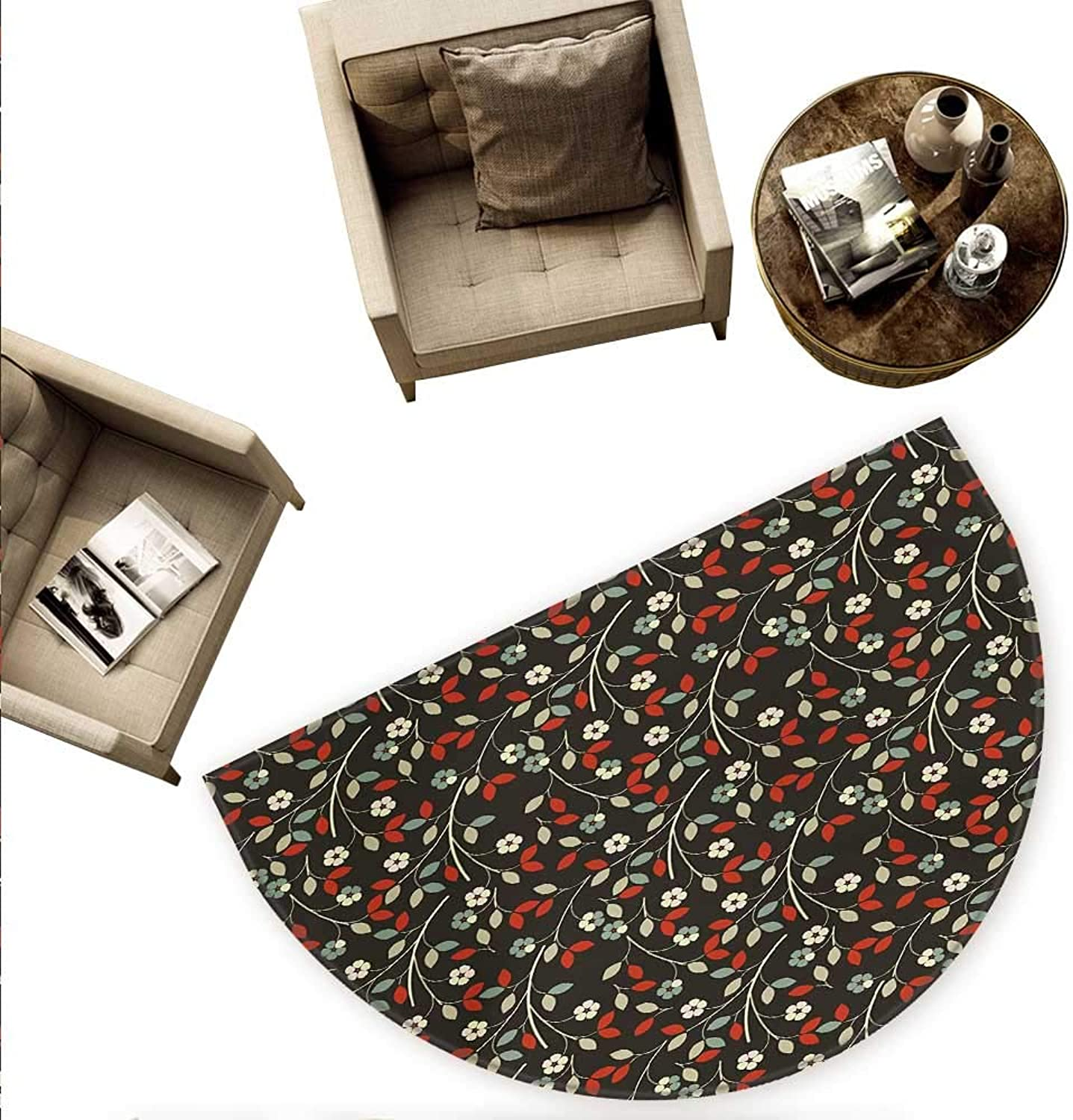 Floral Semicircular Cushion Nostalgic Romantic Garden Pattern with Little Flowers and Leaves Traditional Look Entry Door Mat H 70.8  xD 106.3  Multicolor
