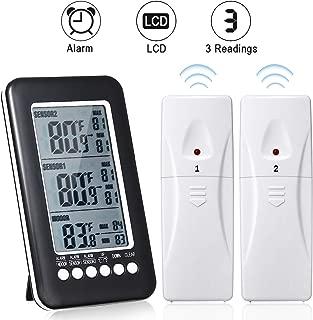 GEMITTO Digital Indoor Outdoor Thermometer, with Temperature Gauge & LCD Alarm Clock, Wireless Outdoor Weather Meter, for Bedroom Greenhouse Garage Warehouse