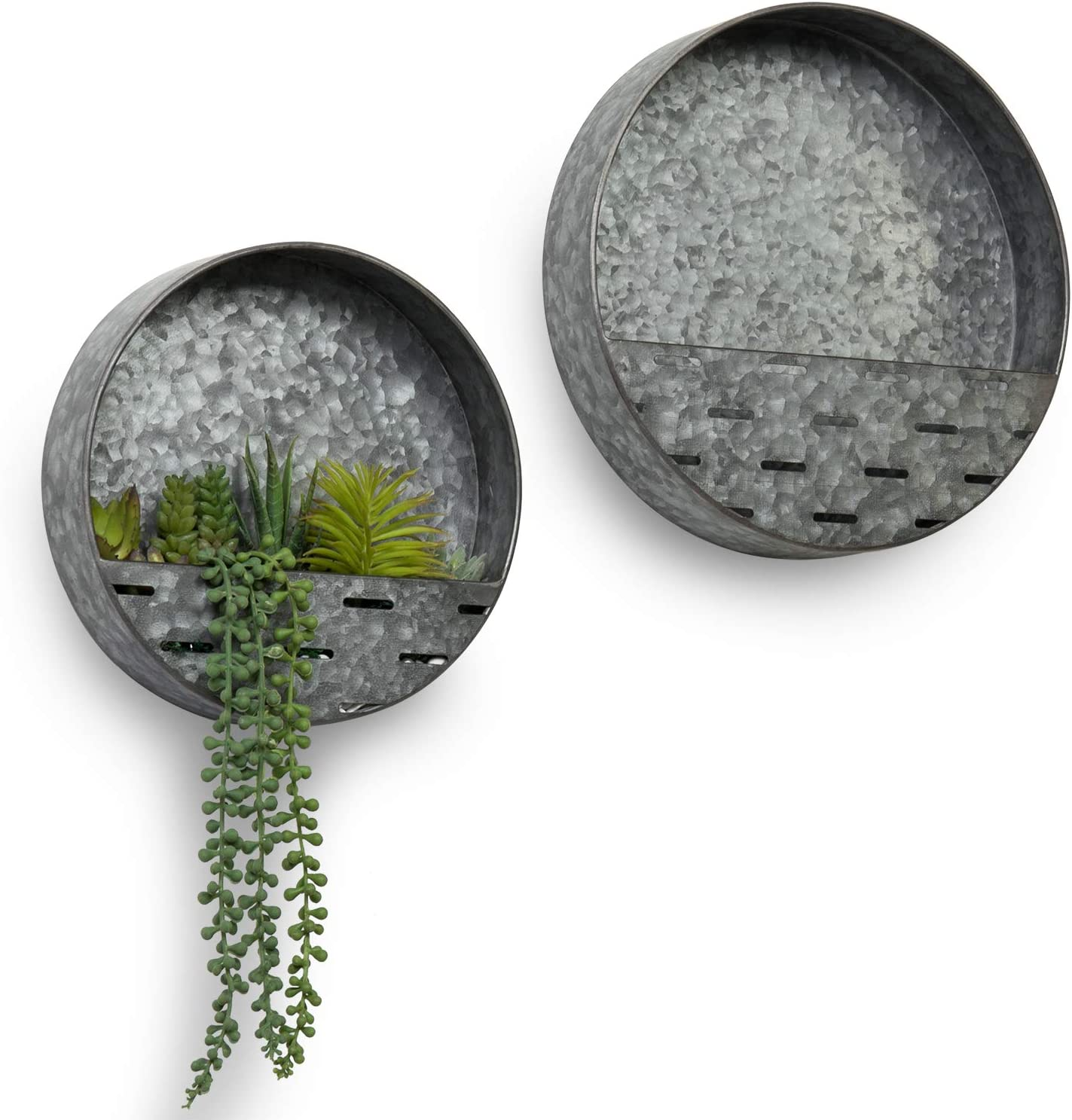 MyGift Rustic Silver Opening large release sale Arlington Mall Galvanized Succulent Round Metal Decorative