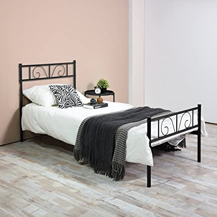 GIME Twin Bed Frame,  Yanni ADRINA Easy Set-up Premium Metal Platform Mattress Foundation/Box Spring Replacement with Headboard and Footboard,  Under-bed Storage,  Enhanced Sturdy Slats(Black)
