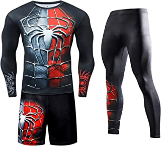 Men's Workout Set Tight Long Top and Bottom Set Compression Shirt Compression Pants Lightweight, Comfortable