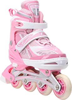 Banwei Adjustable Inline Skates for Girls and Boys Size 13.5J to 6 Illuminating Front Wheel Safe Durable Roller Skates Outdoor Indoor Use