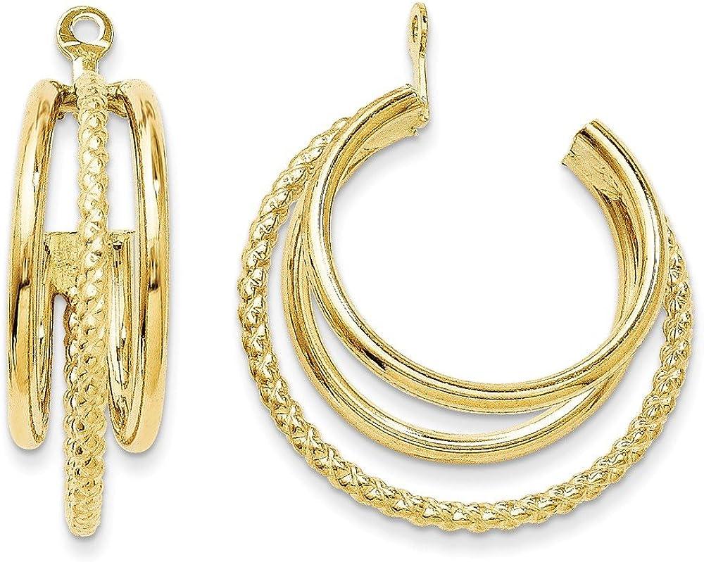 14k Polished and Twisted Triple Hoop Earring Jackets