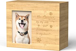 AMASENG Pet Cremation Urns Box for Dogs Cats Ashes,Burly Wood Keepsake Memorial Pet Urn Photo Box Large Size Personalized ...