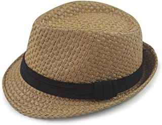 LONGren Children's Straw Hat, Summer Men's Outdoor Travel Sun Protection Sun Hat Beach Hat (Color : Brown, Size : 52-54cm)
