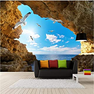 3D Mural Non-Woven HD Print Blue Sky White Clouds Seagulls Cave LandscapeHotel Lobby Living Room TV Backdrop Wall Murals Children's Room Home Decor
