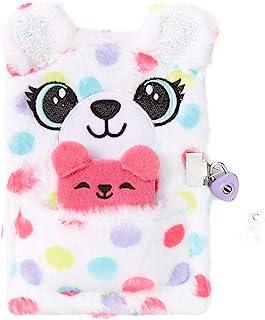 ژورنال دخترانه دفترچه یادداشت قفل مخمل خواب دار Claire ، خرس عروسکی نقطه پولکا ، سفید با رنگین کمان ، شامل قفل با 2 کلید و مینی نوت بوک ، 6 اینچ 6 اینچ