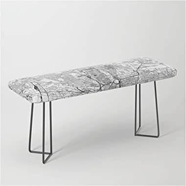 Columbus White Map by Multiplicity on Bench/Ottoman - Black