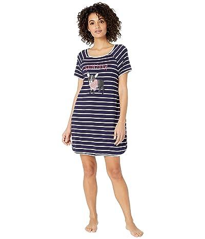 Kate Spade New York Jersey Knit Sleepshirt (Navy Stripe) Women