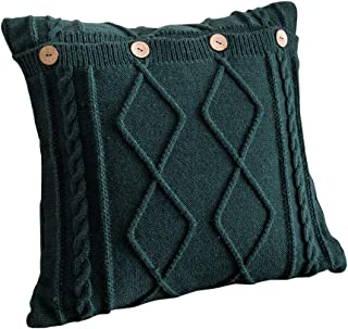 JEANNELIFE Cotton Knitted Decorative Pillow Case Cushion Cover Cable Knitting Patterns Square Warm Throw Pillow Covers (18